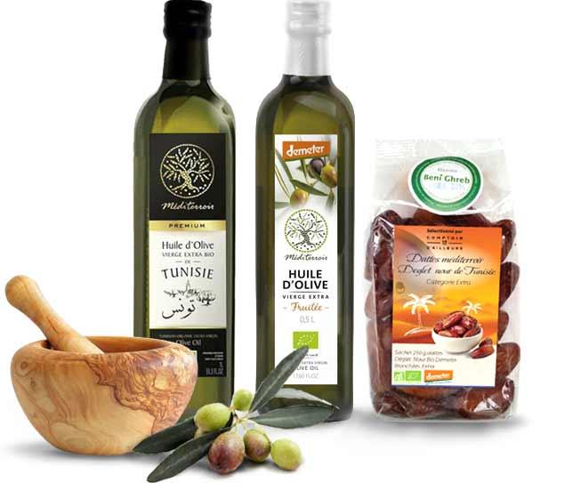 Hule d'olive et dattes bio, pilon bois d'olivier