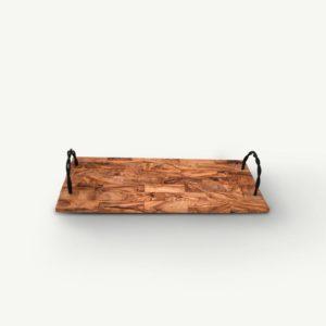 Plateau en bois d'olivier avec poignées en fer forgé